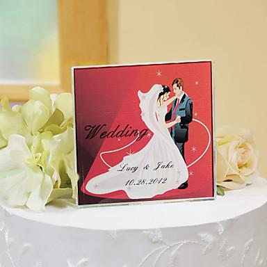pasta yonca kişiselleştirilmiş kristal kek Topper - romantik kırmızı
