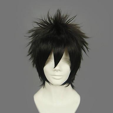 Cosplay Wigs Gintama Hijikata Toushirou Crn Anime Cosplay Wigs 12 inch Otporna na toplinu vlakna Muškarci Halloween perika