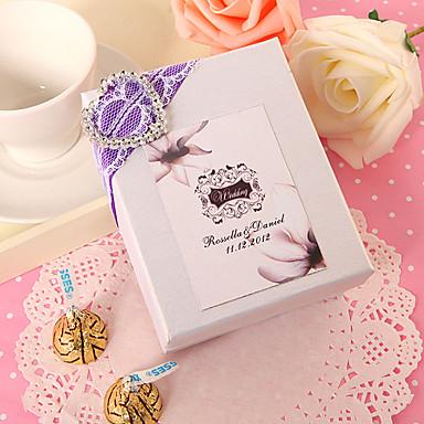personlig hvit fordel boks med sølv hjerte (sett av 24)