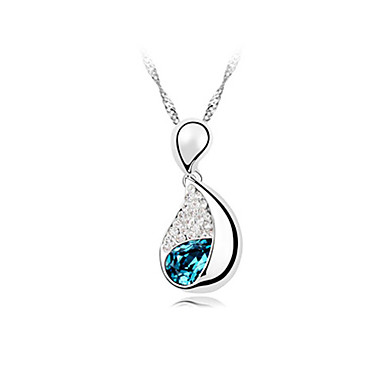 Crystal Drop Pendant Necklace In Alloy (More Colors)