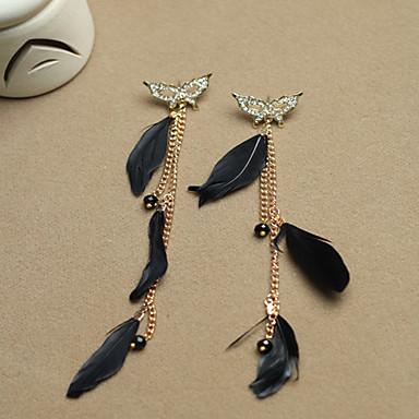 vlinder en veren bungelende oorbellen