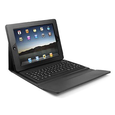 lærveske deksel med trådløs bluetooth tastatur for iPad (svart)