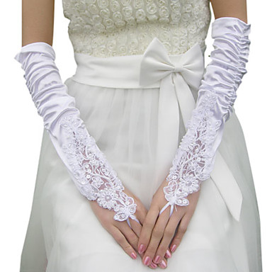 Satin Elbow Length Glove Bridal Gloves With Appliques