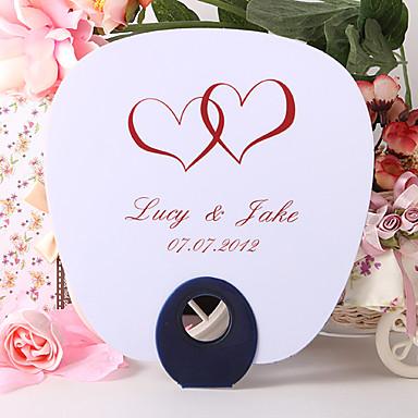 Personalized Fan Wedding Favor – Double Hearts