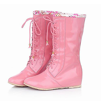 Patent Leather Low Heel Mid-calf boots/Lace-ups With Lace-up Honeymoon Shoes (More Colors)