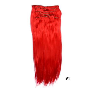 20-Zoll-synthetische Clip in Haarverlängerungen -10 Farben erhältlich