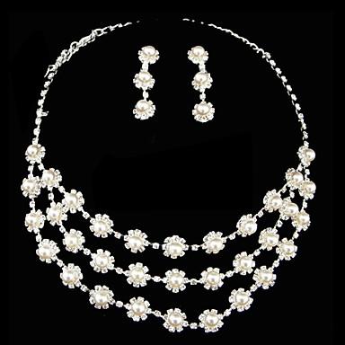 ensemble de bijoux à trois couches blanc perle dames comprenant collier et boucles d'oreilles