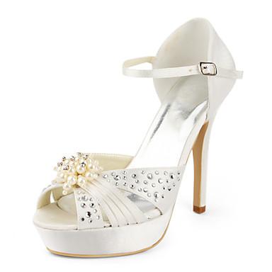 satin plateforme talon aiguille avec des chaussures de mariage strass (autres couleurs disponibles)