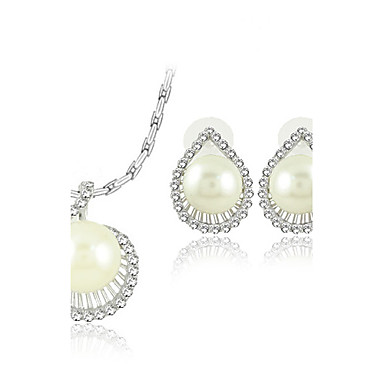 Exquisite Pearl With Rhinestone Ladies' Jewelry Set Including Necklace and Earrings
