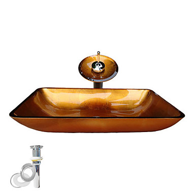 Contemporary Rectangular Sink Material is Tempered Glass Bathroom Mounting Ring Kitchen Water Drain