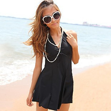 Solid Black One Piece Swimsuit