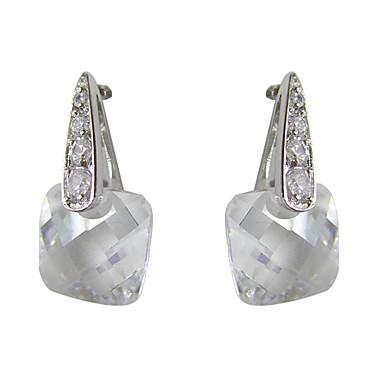 charmante weiße Platin mit Vierkant Form Zirkonia Ohrringe vergoldet