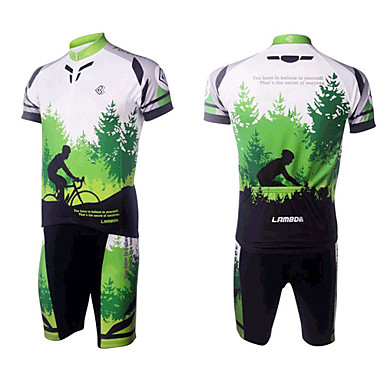 Cycling Sports Men's Short Sleeve Suits(Green Forest)