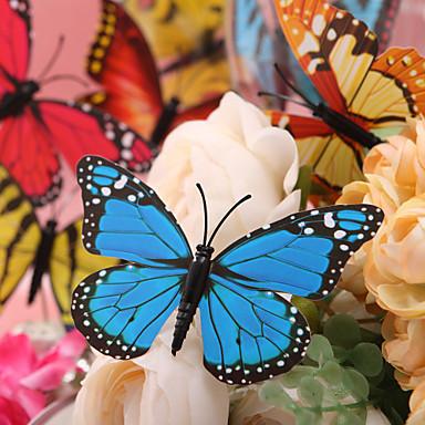 Beautiful Blue Plastic Butterfly - Set Of 6