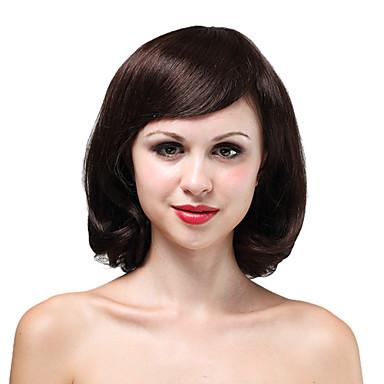 mono topp høy kvalitet menneskehår medium brunt krøllete hår parykk