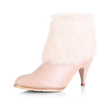 Beautiful Suede Stiletto Heel Boots With Fur Party / Evening Shoes