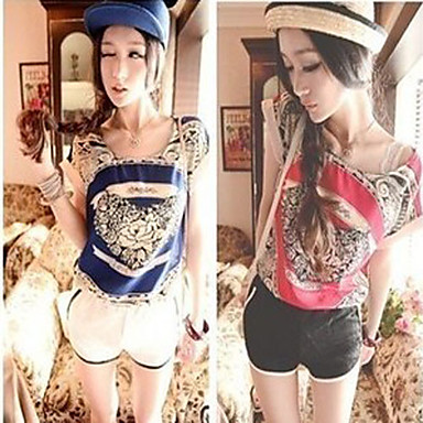 Western Retro Love Flower Design Satin Chiffon Short Sleeve T-Shirt