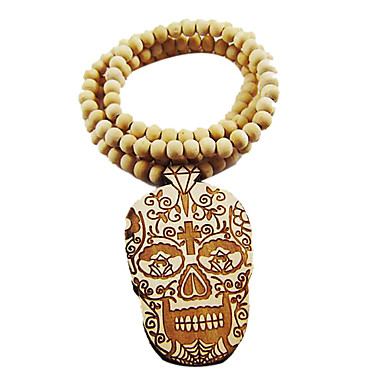 Fancy Skull Pattern Wooden Necklace