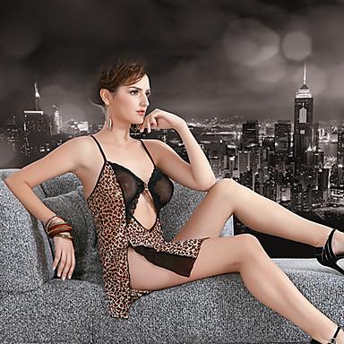 Sexy Leopard Strap Nightwear Dress(Bust:80-120cm)