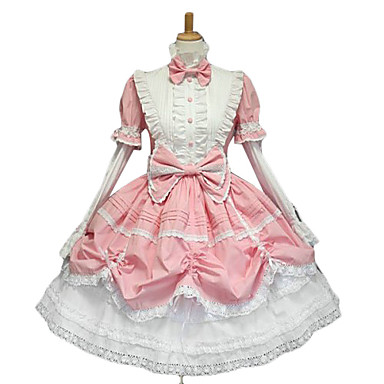 Dress Gothic Lolita Dress / Sweet Lolita Dress / Classic Lolita Dress Women's Pink Lolita Accessories Bowknot Dress Lace / Cotton