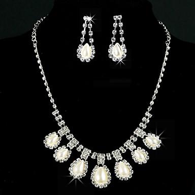 Einzigartige Legierung mit Strass / Imitation Pearl Damen-Schmuck-Set einschließlich Halskette, Ohrringe