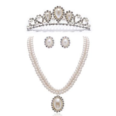 Buy Gorgeous Clear Crystals Imitation Pearls Jewelry Set,Including Necklace,Earrings Tiara