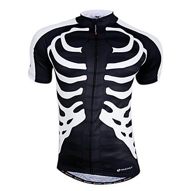 Nuckily Bărbați Manșon scurt Jerseu Cycling - Alb Verde/Negru Negru/Verde Cranii Bicicletă Uscare rapidă, Respirabil