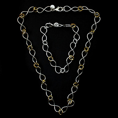 Silver Plated Elegant Set 8 Mujeres Shape Jewelery incluyendo el collar, pulsera