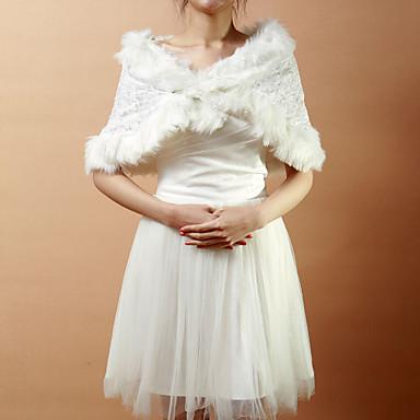 Nizza Faux Fur & Lace Evening / Wedding Shawl