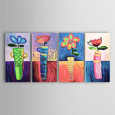 El-Boyalı Çiçek/Botanik Yatay Tuval Hang-Boyalı Yağlıboya Resim Ev dekorasyonu Dört Panelli