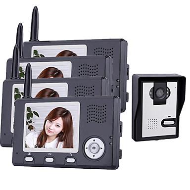 3.5 인치 문 전화 모니터 (1camera 4 모니터)와 무선 야간 비전 카메라