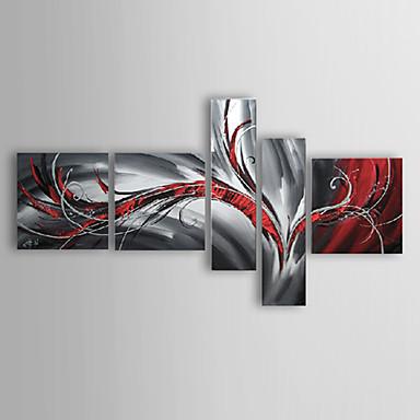 Hang-Painted öljymaalaus Maalattu - Abstrakti Kangas 5 paneeli