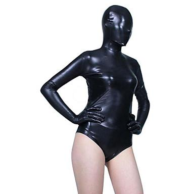 Shiny Zentai Kıyafetleri Ninja Zentai Cosplay Kostümleri Siyah Solid Strenç Dansçı/Tulum Zentai Spandex Kadın's Yılbaşı Cadılar Bayramı