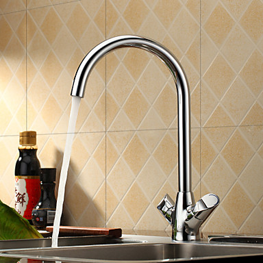 Sprinkle® by Lightinthebox - Centerset Two Handles Brass Kitchen Faucet-Chrome Finish