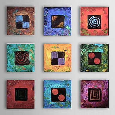 Pictat manual Abstract Pătrat,Modern Tradițional Mai Mult De Cinci Panouri Hang-pictate pictură în ulei For Pagina de decorare