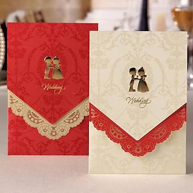 Elegant bröllopinbjudan med laser-cut Floral Border - Set med 50 (Fler färger)