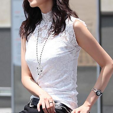 女性のレースモックネックノースリーブTシャツ