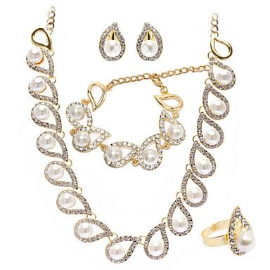 Smykker Set Dame Jubilæum / Bryllup / Forlovelse / Fødselsdag / Gave / Fest Juvel Sæt Guld Imiteret Perle / Rhinsten Guld