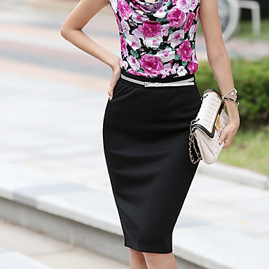 Donna Solid Pencil Skirt colore (cintura non è inclusa)