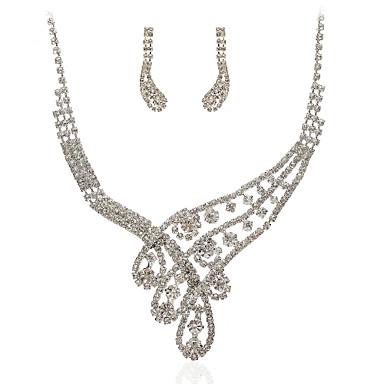 úžasný český kamínky slitinové pokovené svatební šperky set, včetně náhrdelníku a náušnic