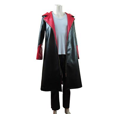 Inspireret af Devil May Cry Dante video Spil Cosplay Kostumer Cosplay Suits Patchwork Sort Langt Ærme Kappe / Vest / Bukser