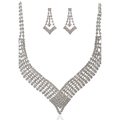 underbara tjeckiska strass med aluminiumfälgar pläterade bröllop brud halsband och örhängen smycken set