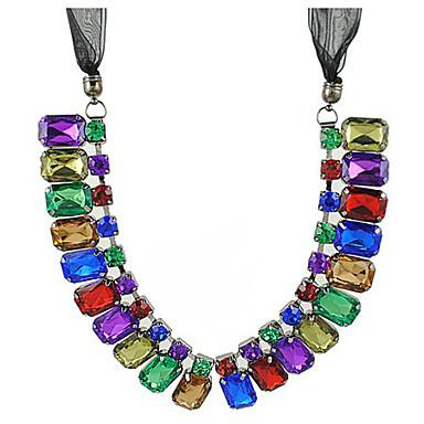 Women's Gemstone-like Silk Ribon Necklace