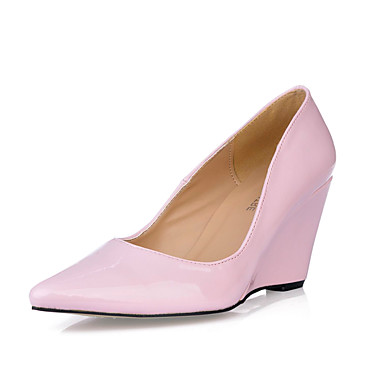 Women's Spring / Summer / Fall / Winter Wedges Patent Leather Dress Wedge Heel Black / Brown / Pink