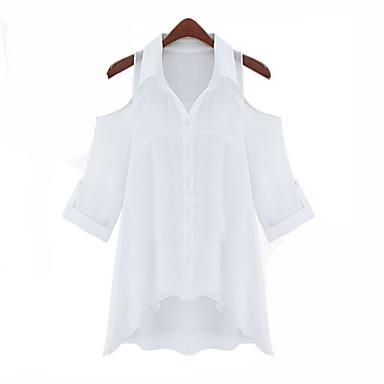 Damen Cold Shoulder Solid Color-Shirt