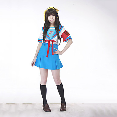 Inspirat de Suzumiya Haruhi Haruhi Suzumiya Anime Costume Cosplay Costume Cosplay Uniforme Școlare Peteci Manșon scurt Vârf Fustă Centură