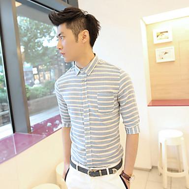 Men's Causal Stripes 1/2 Length Sleeve Shirt