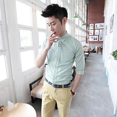 Men's Dots Pattern 1/2 Length Sleeve Cotton Shirt