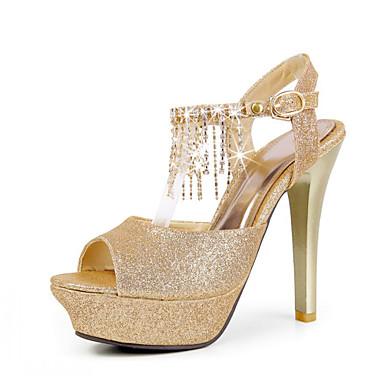 Cuero del talón de estilete peep toe / sandalias con diamantes de imitación zapatos de fiesta / noche (más colores)
