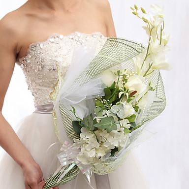 Довольно свободной форме атласные розы с лентой букет Свадебные